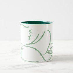 Two-Tone Mug with Stylized Mandarin Duck design