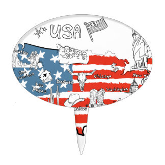 stylized-map-of-america-things-that-different-regi cake topper