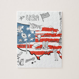 stylized-map-of-america-things-that-different-regi jigsaw puzzle