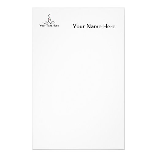 Stylized meditation with customizable text stationery paper