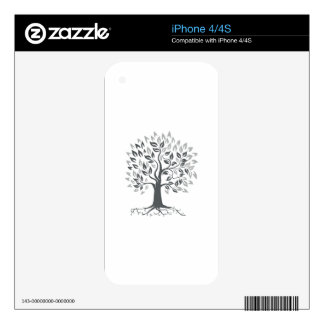 Stylized Oak Tree with Roots Retro iPhone 4S Decals