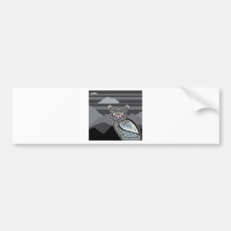 Stylized owl dark night bumper sticker