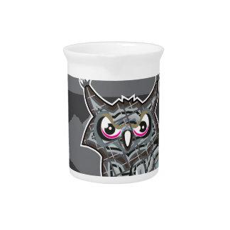 Stylized owl dark night drink pitchers