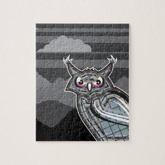 Stylized owl dark night jigsaw puzzle