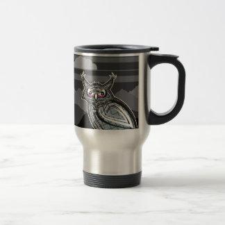 Stylized owl dark night travel mug