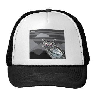 Stylized owl dark night trucker hat