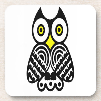 Stylized Owl in Black Beverage Coaster