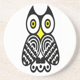 Stylized Owl in Black Drink Coaster