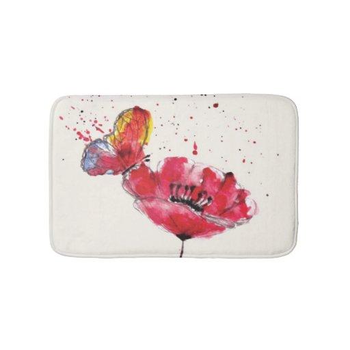 Stylized Painted Watercolor Poppy Flower Bathroom Mat Zazzle