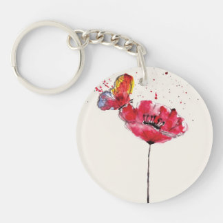 Stylized painted watercolor poppy flower keychain