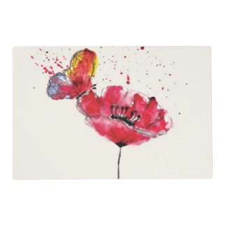 Stylized painted watercolor poppy flower placemat