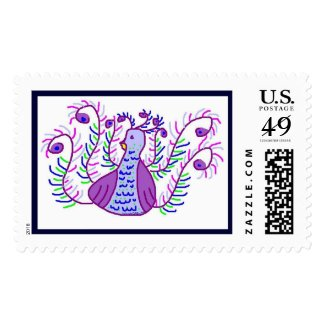 Stylized Peacock by Wendy C. Allen Postage