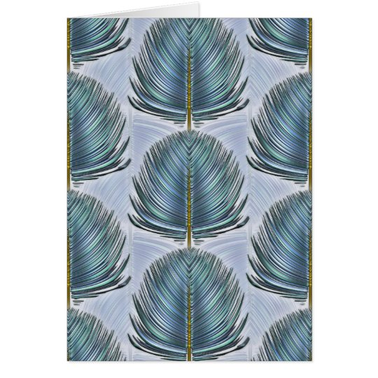 Stylized Peacock Feather - blue Card