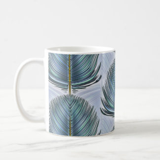 Stylized Peacock Feather - blue Coffee Mug