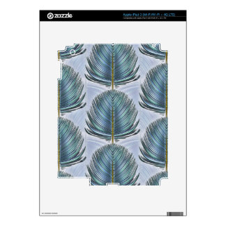Stylized Peacock Feather - blue Decal For iPad 3