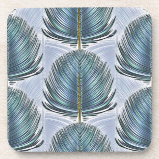 Stylized Peacock Feather - blue Drink Coaster