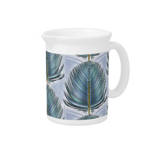 Stylized Peacock Feather - blue Drink Pitchers