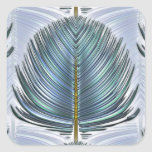Stylized Peacock Feather - blue Square Sticker
