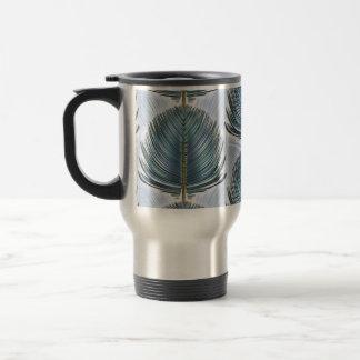 Stylized Peacock Feather - blue Travel Mug