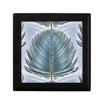 Stylized Peacock Feather - blue Trinket Boxes