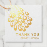 """Stylized Peacock Feather Modern Wedding Gold Foil Favor Tags<br><div class=""""desc"""">Modern. Minimal. This collection uses stylized peacock feathers to create an elegant look for your special day.</div>"""