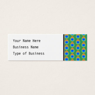 Stylized Peacock Feather Pattern. Mini Business Card