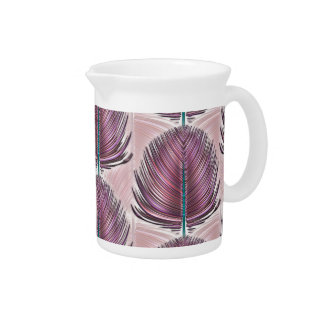 Stylized Peacock Feather - pink Beverage Pitchers