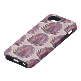 Stylized Peacock Feather - pink iPhone 5 Covers
