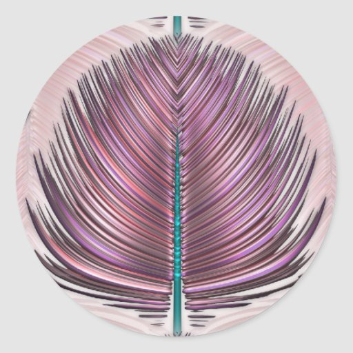 Stylized Peacock Feather - pink Classic Round Sticker