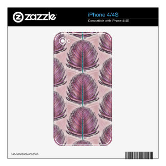 Stylized Peacock Feather - pink Skin For The iPhone 4