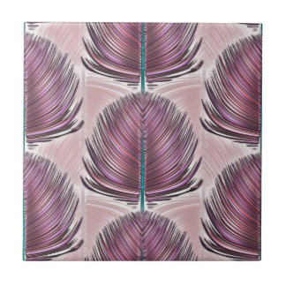 Stylized Peacock Feather - pink Tile