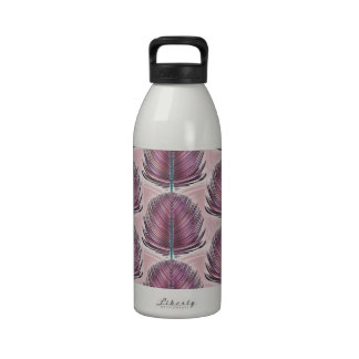 Stylized Peacock Feather - pink Water Bottle
