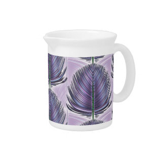 Stylized Peacock Feather - purple Pitchers