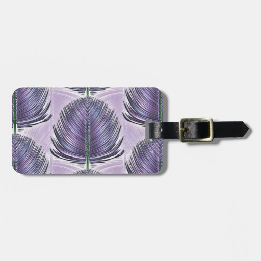 Stylized Peacock Feather - purple Tag For Luggage