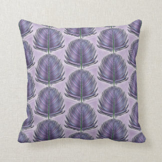 Stylized Peacock Feather - purple Throw Pillow