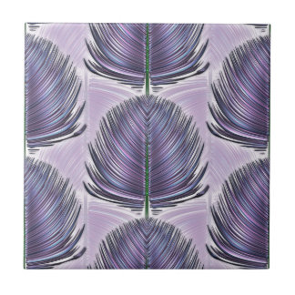 Stylized Peacock Feather - purple Tile