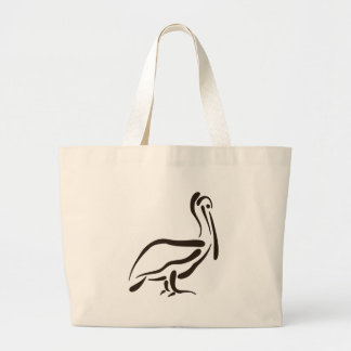 Stylized Pelican Large Tote Bag