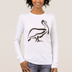 Women's Basic Long Sleeve T-Shirt with Stylized Pelican design