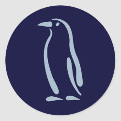 Round Sticker with Stylized Penguin design