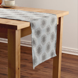 Stylized Petoskey Stone Abstract Geometric Pattern Short Table Runner