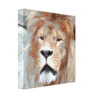 Stylized Photo Illustration Lion Face Canvas Print