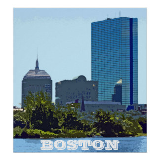 Stylized Photo of Back Bay Skyline, Boston Posters