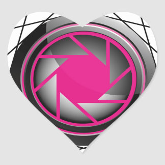 Stylized photography symbol in pink and black heart sticker