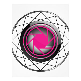 Stylized photography symbol in pink and black letterhead design