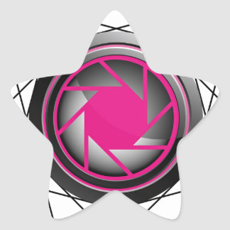 Stylized photography symbol in pink and black star sticker