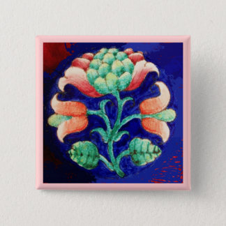 STYLIZED PINK FLOWER ,BLUE GREEN FLORAL BUTTON