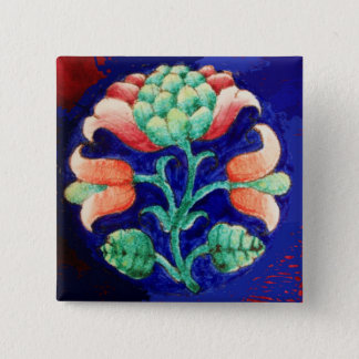 STYLIZED PINK FLOWER ,BLUE GREEN FLORAL PINBACK BUTTON