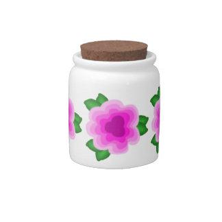 Stylized Pink Flower Sugar / Candy Jar