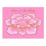 Stylized Pink Peony Postcard