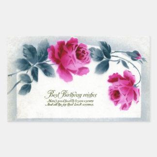 Stylized Pink Roses Vintage Birthday Rectangular Sticker